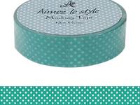 Washi Tape Dots Green 15mm