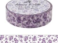 Washi Tape Small Roses Purple 15mm