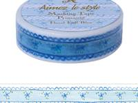 Washi Tape Floral Frill Blue 15mm
