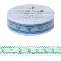 Washi Tape Floral Frill Green 15mm