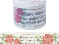 Wide Washi Tape Typing Letters & Roses 38mm