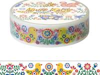 Washi Tape Folk Art Nature 15mm