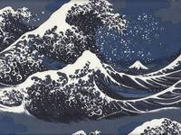 Wachstuch The Great Wave dunkelblau