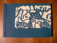 Notizbuch Wood block print Talking blau