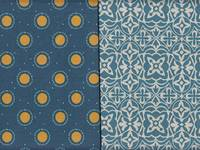2 design pattern - Dot Flower blue