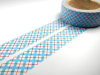 Washi Tape blue red grids 15mm