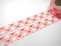 Washi Tape hearts grid 15mm