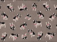 Wachstuch Boston Terrier grau