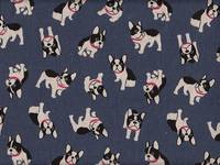 Wachstuch Boston Terrier navy