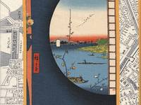 "Panel ""Ukiyoe"" on the historical map of Edo (Tokyo) grau"