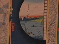 "Panel ""Ukiyoe"" on the historical map of Edo (Tokyo) sepia"