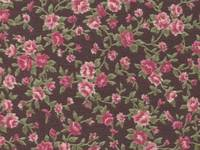 Fabric Sticker antique flower dark brown A4