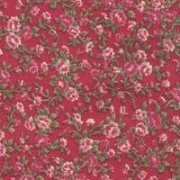 Fabric Sticker antique flower red A4