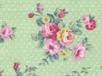 Fabric Sticker french rose yellow green A4