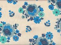 Wachstuch Embroidery Flower blue