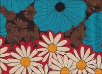 Retro flower blue red