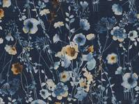 Watercolor Flower dark blue