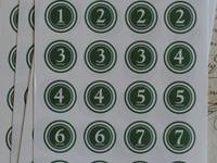 Number seal (18mm) Green. 24 pcs