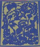 Paper-cutting seal. silk paper. road side. royal blue