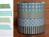 Washi Tape gingham, stripes & dots blue 4er Set 13mm