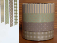 Washi Tape gingham, stripes & dots brown 4er Set 13mm
