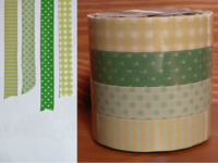 Washi Tape gingham, stripes & dots green 4er Set 13mm