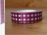 Washi Tape gingham plum 15mm