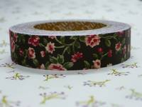 Fabric Tape antique flower dark brown 15mm