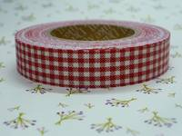 Fabric Tape gingham red 15mm