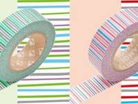 Washi Tape shima midori&aka 2er Set 15mm