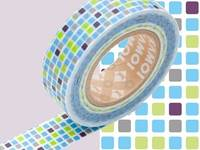 Washi Tape tile blue 15mm