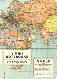 Mini Notebook Vintage World Maps 3er Set